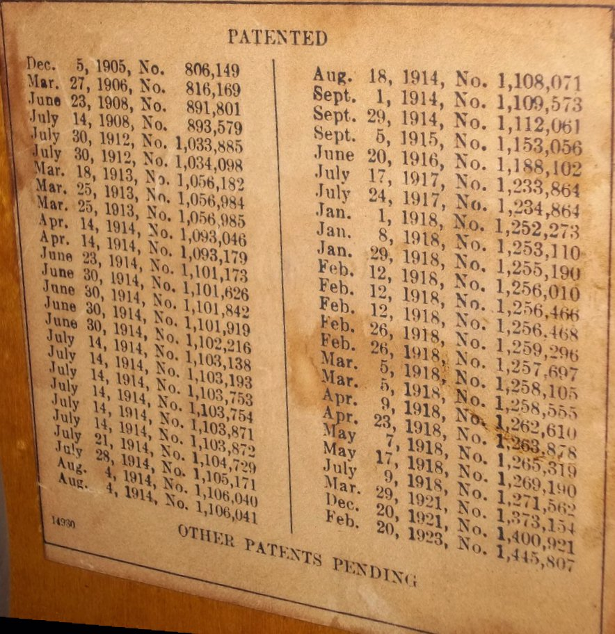Baldwin Patent Numbers