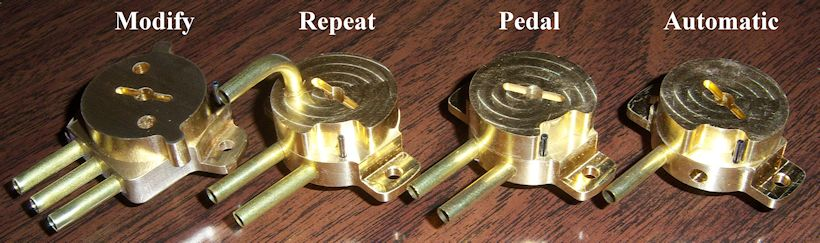 Four Solid Brass Ampico Function Switches
